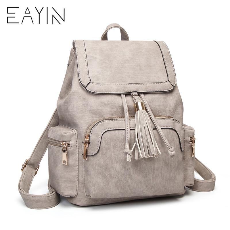 ff62af4a99 EAYIN High Quality Soft PU Leather Travel Backpack Korean Women Backpack  Leisure Vintage Small PU Leather Female Backpacks Bags Hunting Backpacks  Gregory ...