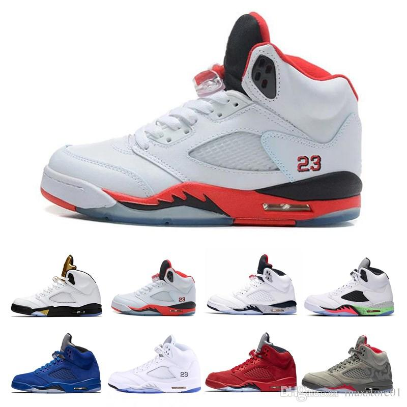 official photos 2e23c be6d4 New 5 5s basketball shoes mens sneakers OG black metallic fire red Blue  Suede Olympic Metallic Gold 5s White Cement trainer sports shoes