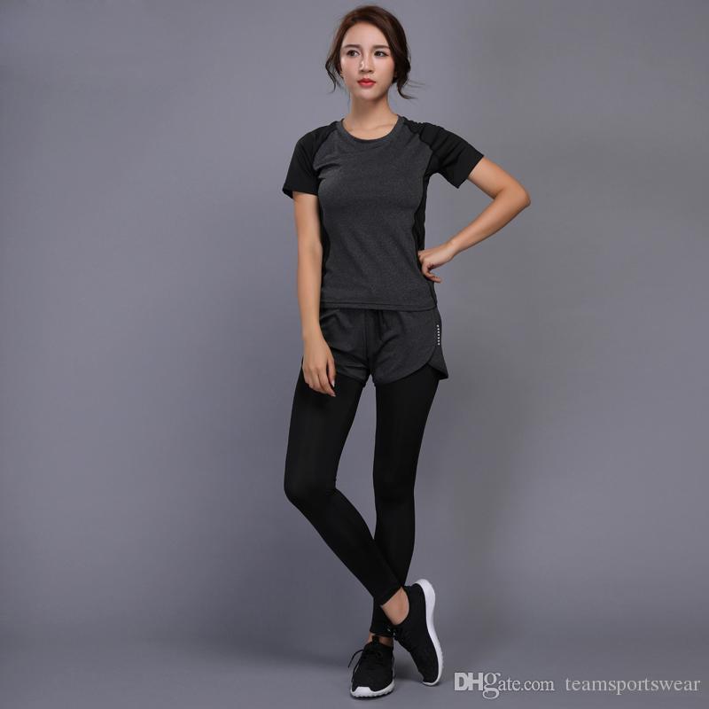 53edf7059564 Women Yoga Set Fitness Gym Clothes Running Tennis Shirt Pants Yoga ...