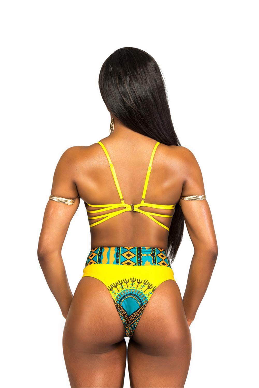 ragazze ci Swimwear sexy giallo del fumetto della signora della stampa della spiaggia del mare del bikini Split costume da bagno in due pezzi costume da bagno Cinture cinghie elastiche misura regolabile