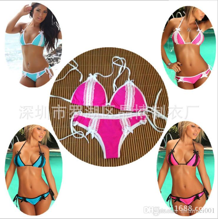 d0df4381927c0 Triangle Swimwear Blue Red White Lace Leopard Bikini Bra Bandage Monokini  Sexy Women Swimsuit Bathing Set Wholesale 2018 New Hot Sale Nice Triangle  Swimwear ...