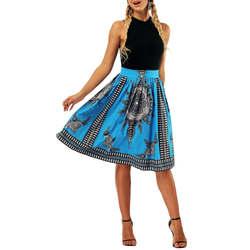 0c9657634f26 2018 Summer Women Skirt African Ethnic Digital Print High Waist Ball ...