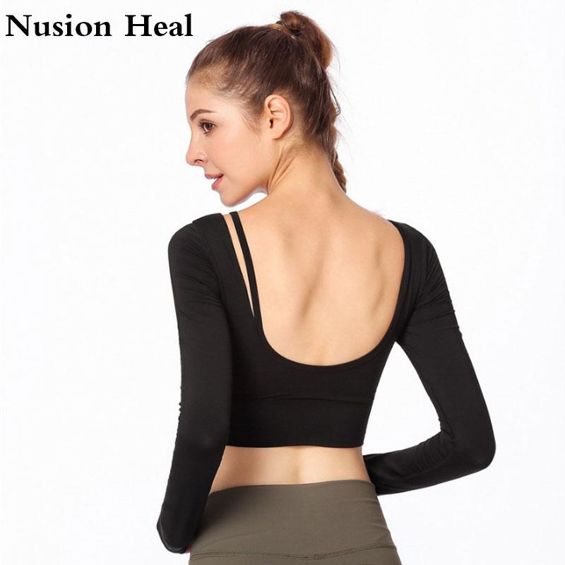 87c701ea16985 2019 Drop Sexy Ombre Crop Top Yoga Shirts For Women Long Sleeve Workout Top  Gym Shirts With Thumb Hole Fitness Crop Camisas Mujer From Huanbaoxin