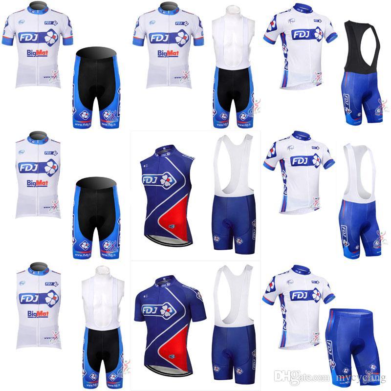 2018 FDJ Mens Cycling Jersey Set Summer Breathable Mtb Bike Clothing ... 3346c90bb