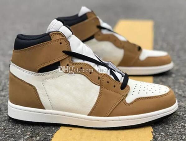 9dfe837b96f3bc Top Quality 1 High OG Rookie Of The Year Basketball Shoes Men 1s Brown  White Black Sports Sneakers New With Box Basketball Shoes Shoes Men From  Men shoes