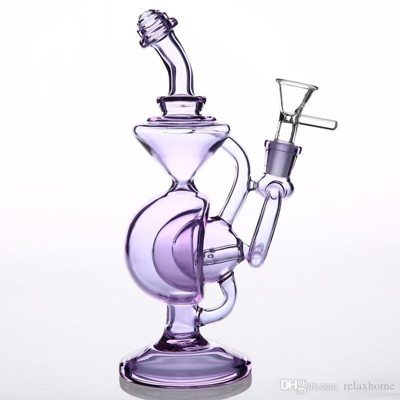 Purple Straight Type Glass Bong 14 mm Dab Rig Bubbler Thicken Glass Water Pipes Beaker Recycler Oil Rigs Water Pipes Bongs