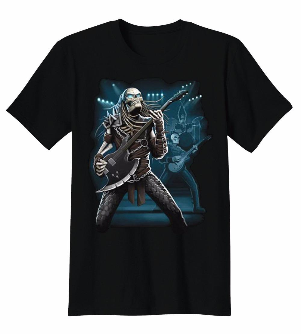 Fashion T Shirts Slim Fit Broadcloth Predator Skull Band Playing Guitar Rock Roll Music T-Shirt Tee Short O-Neck T Shirt For Men