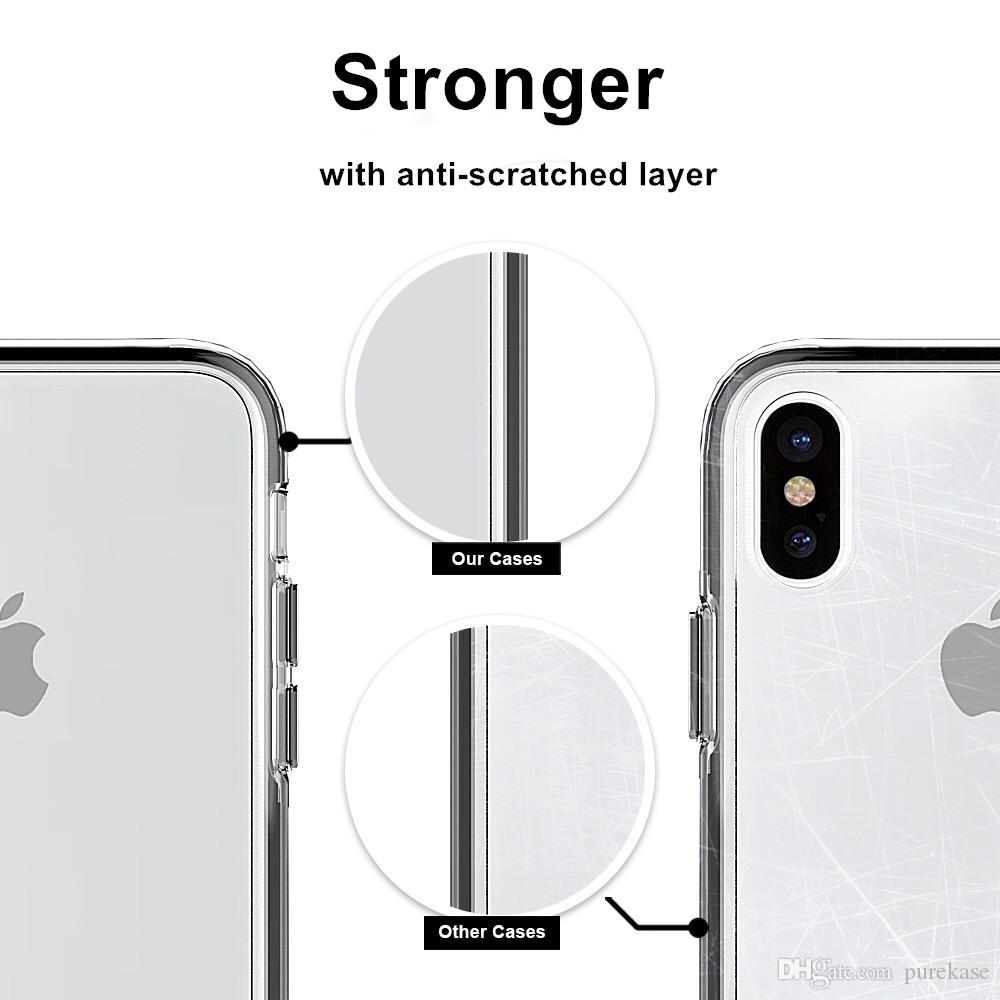 PURE KASE for Apple iphone 7 8 X Case Shock-Absorption Cover Bumper Anti-Scratch Clear Case for Iphone 7 plus