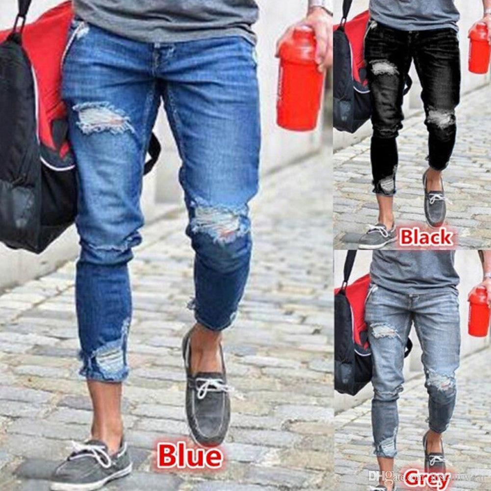 e270dbd94db Acquista Mens Biker Moda Jeans Slim Denim Pancil Pantaloni Strappati Uomo  Streetwear Pantaloni Attillati Jeans Pantaloni Lunghi Maschili Nero Grigio  Jeans ...