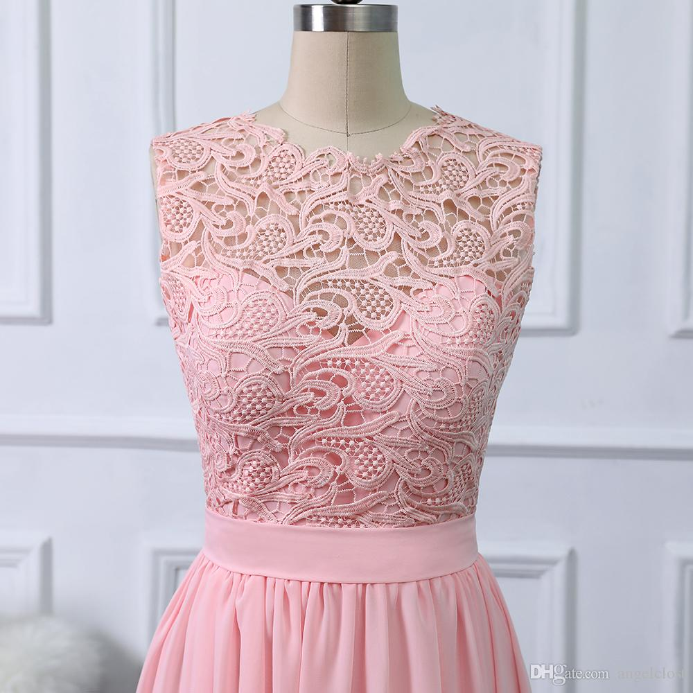 2019 Pink Beach Bridesmaids Dresses Lace Top A Line Floor Length Chiffon Mint Maid Of Honor Dress Wedding Guest Party Gowns Cheap Customized