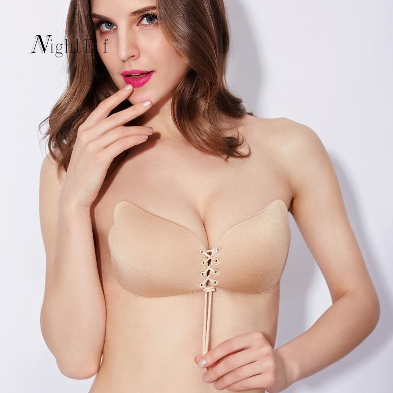 e8835f22a19fc 2018 Wholesale Night Elf Sexy Push Up Fly Bra Self Adhesive Strapless Bra  High Quality Soft 3 4 Cup Bh Silicone Invisible Bras For Women Hot From  Burtom