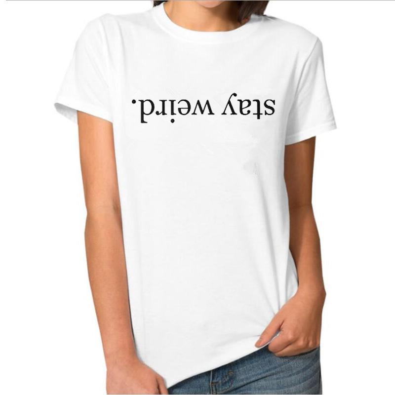 b0d255cd Women's Tee Stay Weird T Shirt Harajuku Punk Hipster T Shirt Women Fahsion  Black White Tee Shirt Femme
