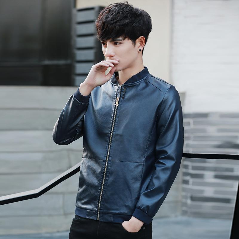 2019 Mens Leather Jacket Motorcycle Jacket Young Men Slim Fit Zipper