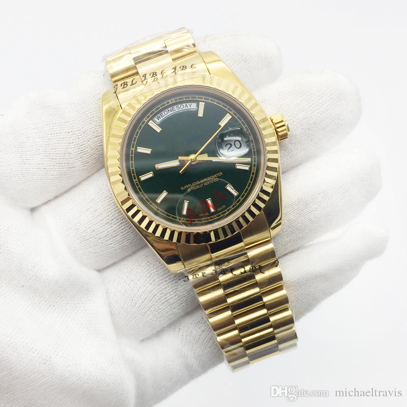 d67afb16046 Compre Marca De Luxo Mens Watch 36mm Data Do Dia Presidente 18 K Ouro Aço  Inoxidável Azul Dial Vidro De Safira Aaa Qualidade Original Fecho De  Michaeltravis ...