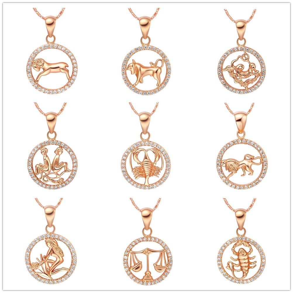 Crystal 12 Constellation Round Leo design glittering Necklace 18K gold Fashion Jewelry Necklace & Pendants For Women Girl Gift