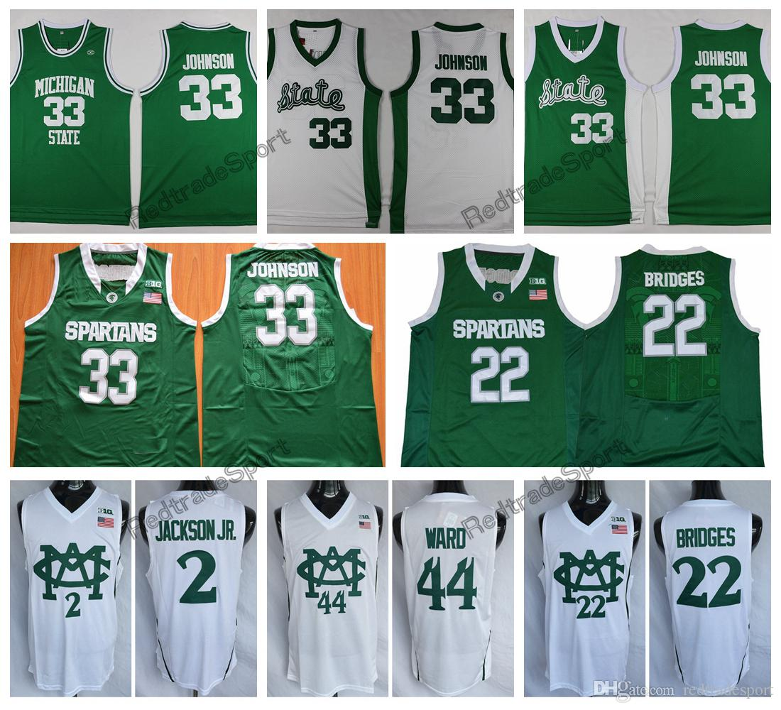 605a58032 2019 Mens 2018 Michigan State Spartans 33 Earvin Magic Johnson 2 Jaren  Jackson Jr. 22 Miles Bridges 44 Nick Ward College Basketball Jerseys From  ...
