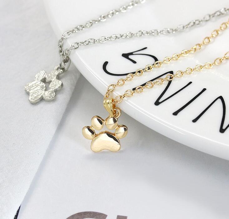 Moda Lindo Mascotas Huellas Huellas Paw Chain Colgante Collar Collares Colgantes Joyería para Las Mujeres Collar suéter Envío Gratis