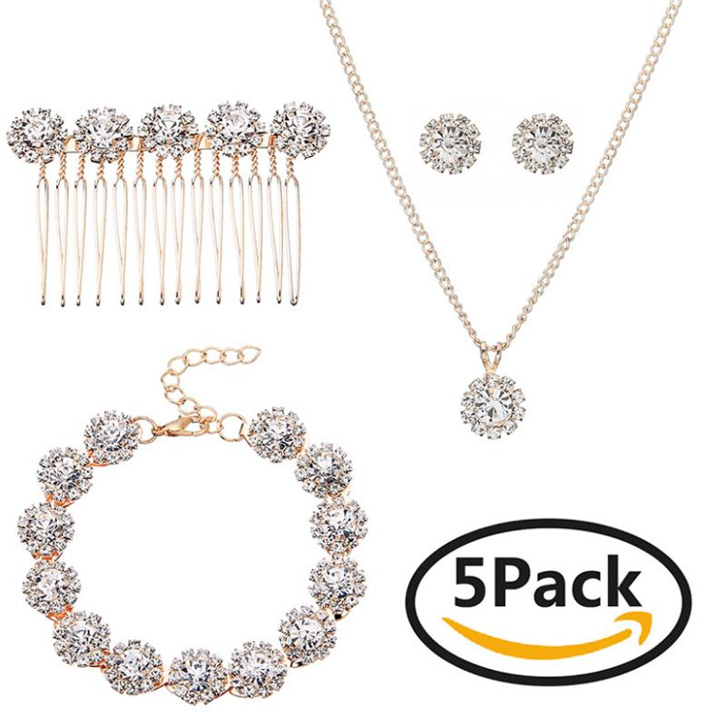 Luxury Crystal Wedding Jewelry Set Rose Gold Color Necklace Earrings Bracelet And Hair Comb Set For Women Bridal Accessory