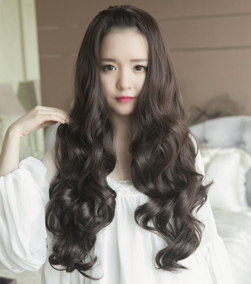 long curly wig is natural wavy hair half a head natural lady wig