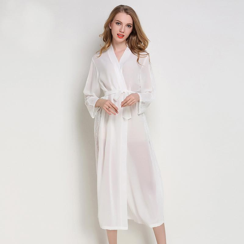 2018 Pajamas long sleeved slim lace nightclothes thin chiffon suit Home Furnishing transparent Spring And summer nightclothes