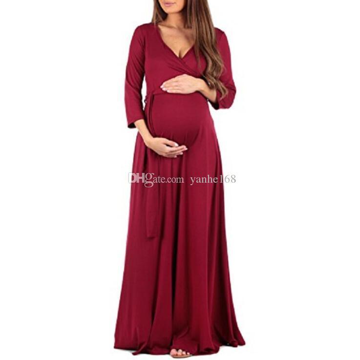 6ad07b7a35 Compre Ropa De Maternidad Ropa De Vestir Suave Para Embarazadas Vestidos De  Maternidad Vestidos Largos Embarazo Vestido De Mujer es A  19.98 Del  Yanhe168 ...