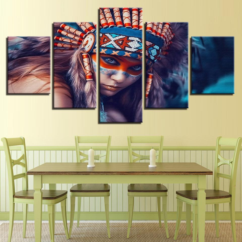 Canvas Paintings For Living Room Home Wall Art Decor Indians Girl ...