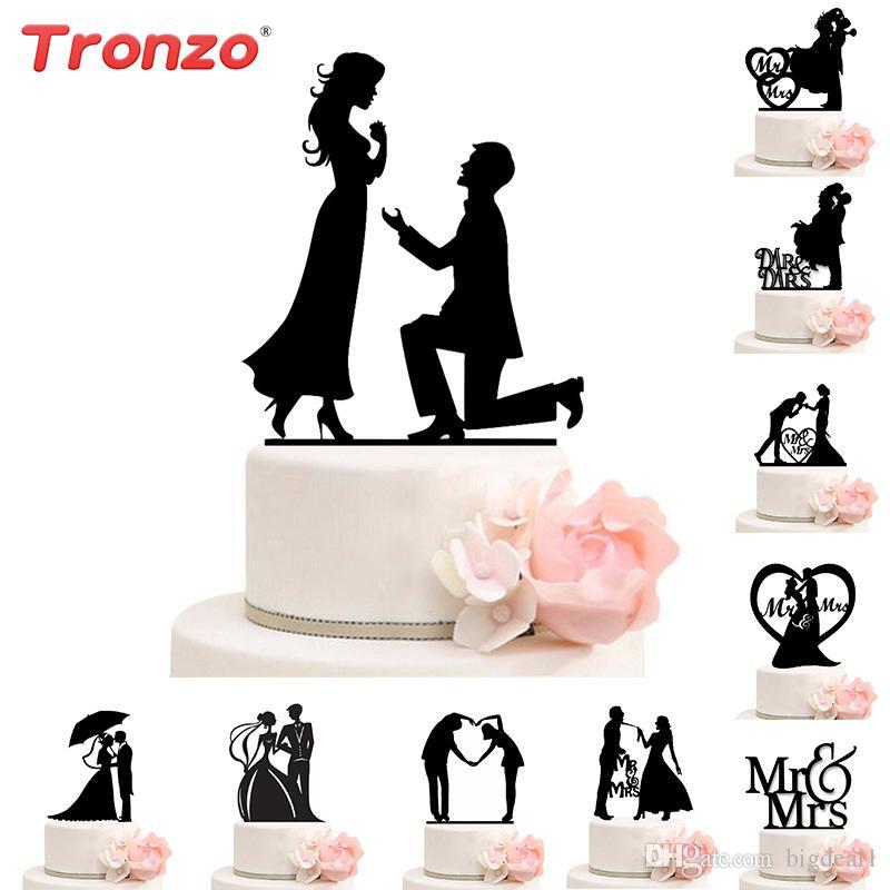 Wedding Decoration Cake Topper Mr Mrs Acrylic Black Toppers Romantic ...