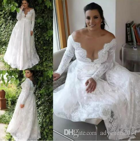 7960f024df7 Discount Full Lace Plus Size Wedding Dresses 2018 Long Sleeves Sexy  Illusion Jewel Neck Garden Country Formal Bridal Gowns For Bride Plus Size  Wedding Gown ...