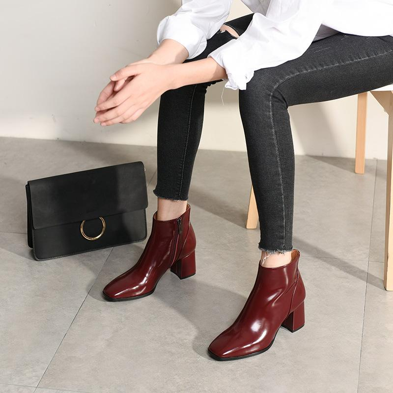 c3890625bcd35 Ankle Boots For Women Genuine Leather Ladies Zip Boots Chelsea Women Black  Brown Square Toe Square Heeled Autumn Chelsea Boots Shoes For Women Desert  Boots ...