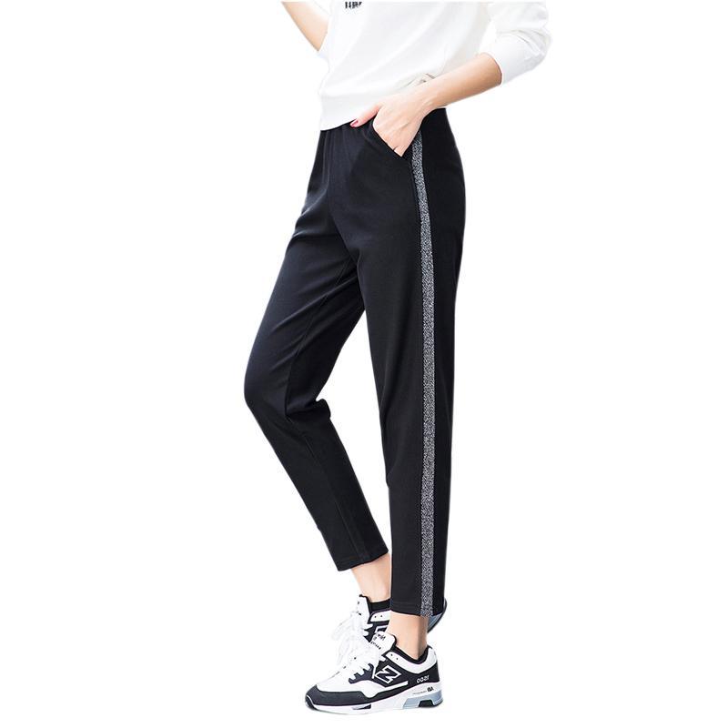 73979d80f78 2018 Autumn Joggers Women Silver Striped Sweatpants Ankle Length ...