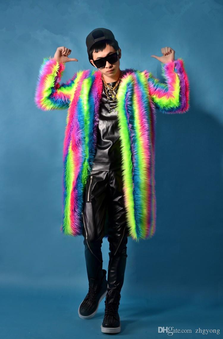 männliche Kostümregenbogen-Plüschmantel-lange Jacke kühle Nachtklubkleidung draußen dünne Abnutzungs-Leistungsshowstern-Tänzersänger