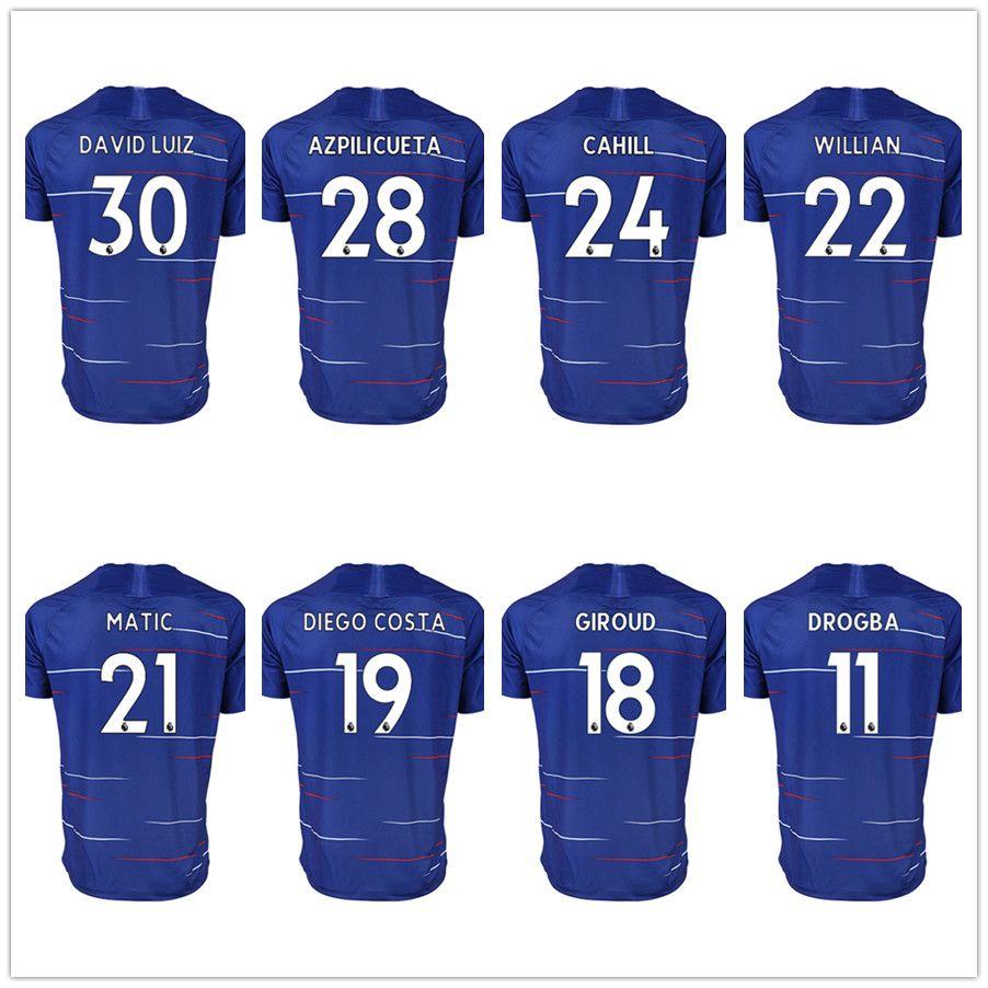 Mens 18 19 FC Soccer Jersey 10 HAZARD 9 MORATA 4 FABREGAS 30 ... 928b95b2b