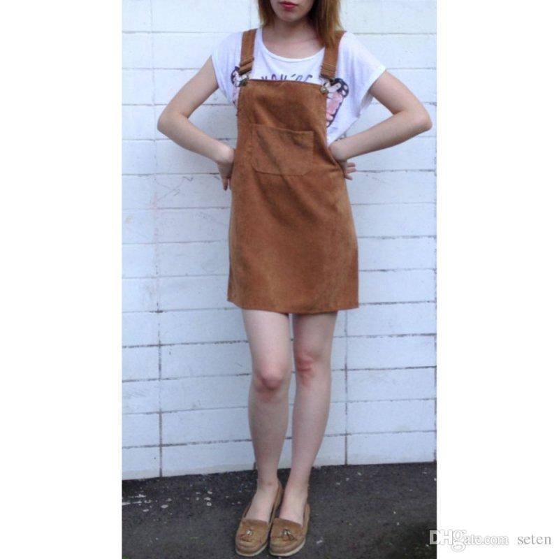 058c71888a 2019 Women Sexy Corduroy Suspender Retro Summer Sundress Overall Vest  Natural Dress Solid New From Seten