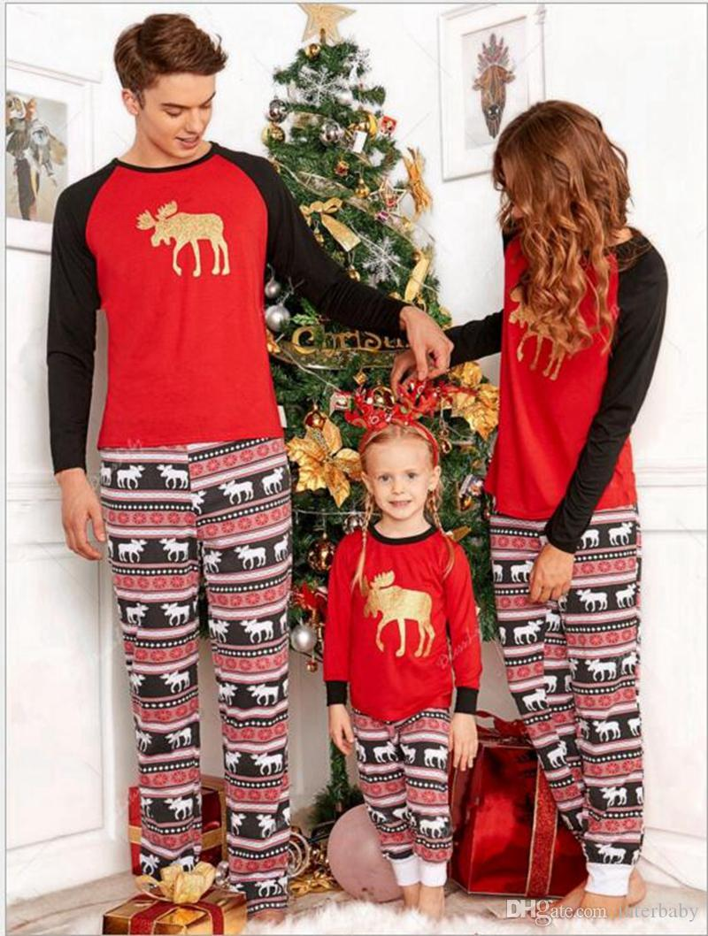 62f0110cb8 ... various styles 86b20 9d120 2018 Family Matching Clothes Set Christmas  Deer Striped Pajamas Xmas Kids Adult ...
