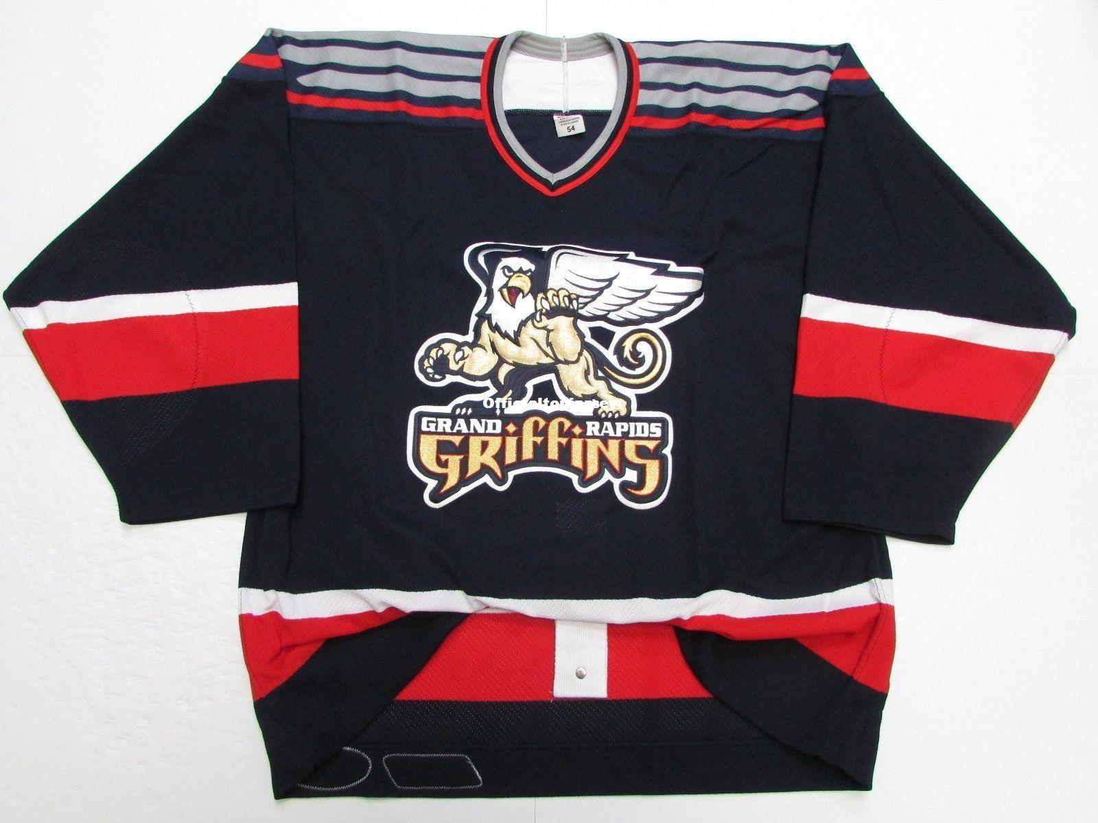 1673cedcc30 Cheap Custom GRAND RAPIDS GRIFFINS CHL AHL NAVY TEAM ISSUED JERSEY ...