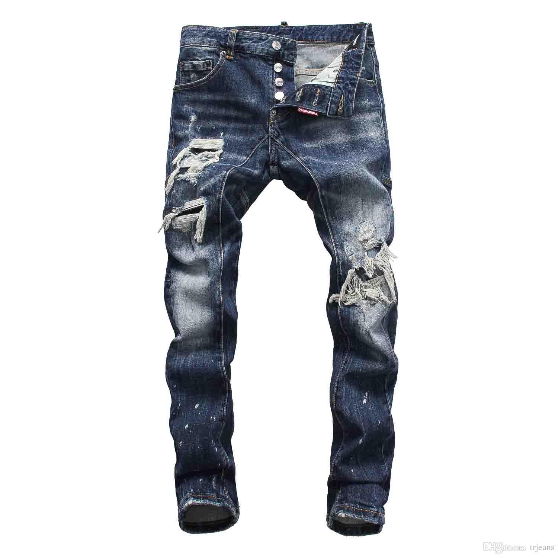 215dfe838 Compre Europeu Moda Masculina De Jeans Stretch Calça Jeans Knight DS Calça  Mancha Danos Magros Esportes Angustiado DS Jeans De Trjeans
