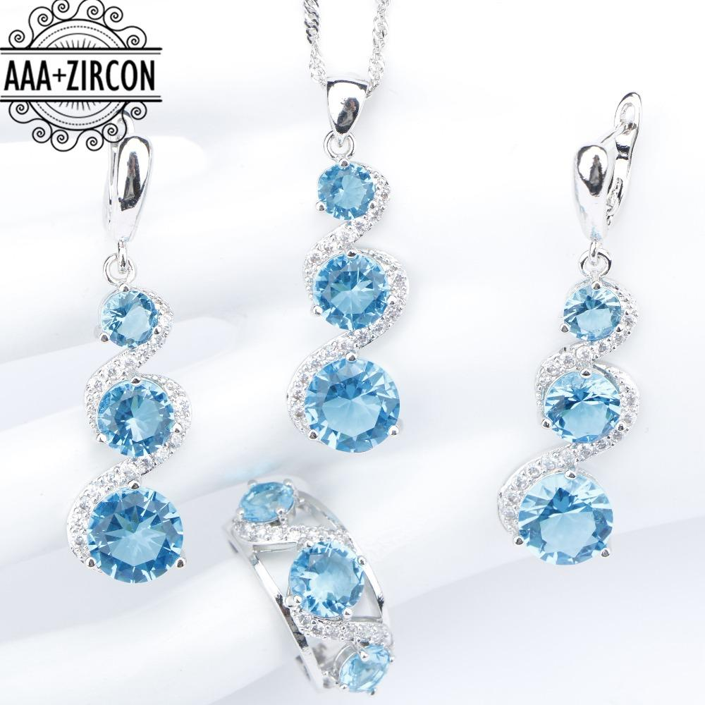 a21acf577 Cheap Flower Pattern Gold Earrings Wholesale Fashion Jewelry Silver Blue Necklace  Sets