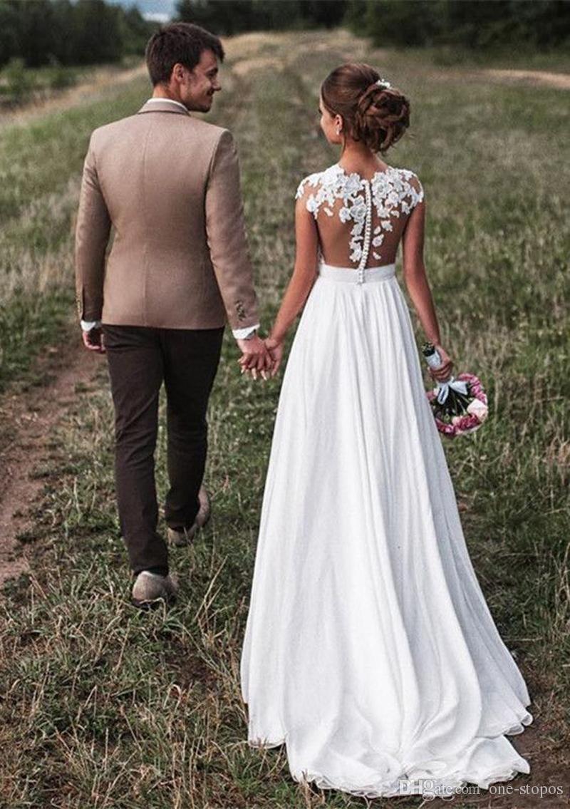 Ülke Stil Bir Çizgi Gelinlik Romantik Cap Kollu Aplikler Şifon 2018 Uzun Gelin Törenlerinde Plaj Ucuz