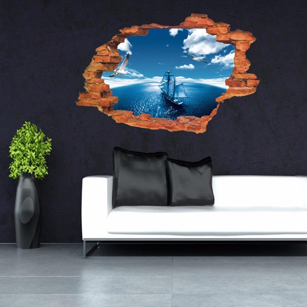 2017 Nueva Llegada 3D Diseño Estéreo Azul Cielo Mar patrón de la nave Etiqueta de La Pared Dormitorio Sala de estar PVC Etiqueta de La Pared