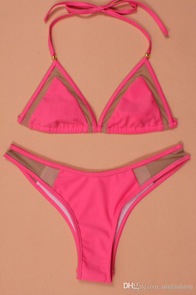Sexy Low Cintura Biquíni Set Bandage Swimsuit Swimwear Halter Maillot de Bain Femme Swimwear Mulheres Biquini Solid Bikini Swimsuit