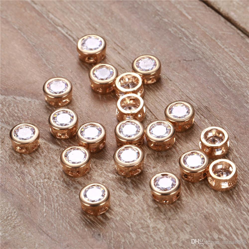 50 teile / los 7 * 4mm Gold farbe Runde Kristall Charme Für Halsketten Armbänder Zirkon Schmuck Zubehör Machen Handwerk Großhandel