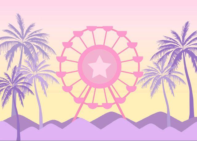 Compre 7x5ft Dibujos Animados Palmera Arena Playa Noria Luz Rosa