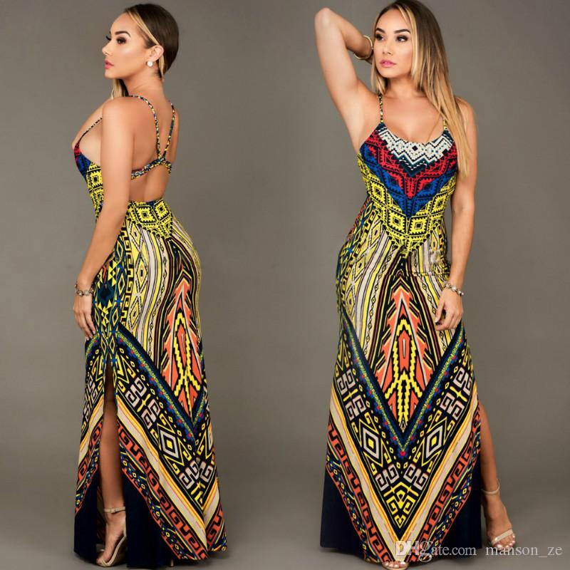 da08f0144d Exotic Printing Women Summer Dress Sleeveless Bandage Boho Long Maxi Dress  Summer Hollow Out Waist Party Dresses Sexy Sundress African Dress Buy  Dresses ...
