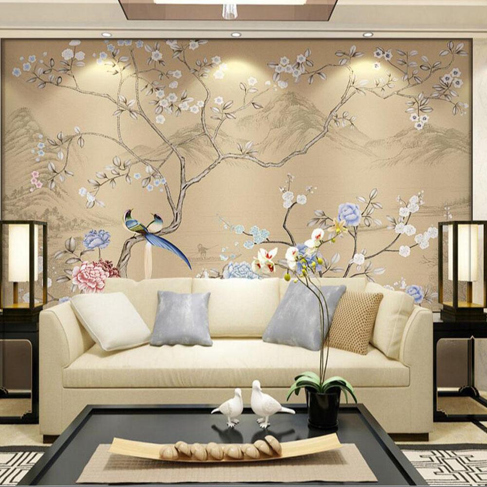Großhandel 3D Blumen Vögel Wallpaper Wandbild Schlafzimmer Wand ...