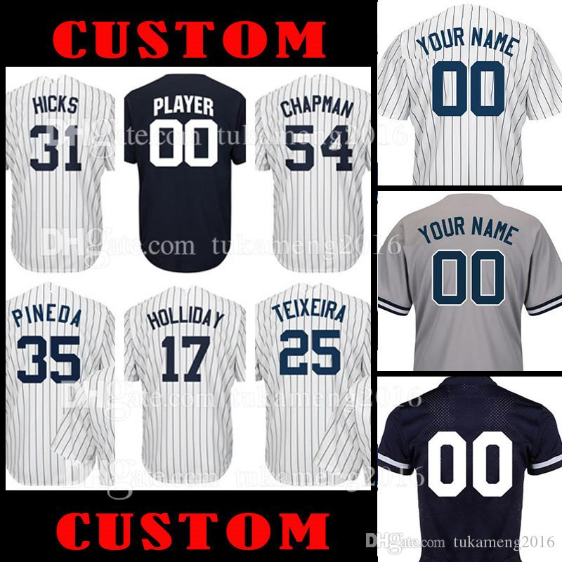 Cutsom New York 31 Aaron Hicks 17 Matt Holliday 36 Carlos Beltran Jersey 54  Aroldis Chapman 25 Mark Teixeira 35 Michael Pineda JERSEYS Cutsom Jerseys  Cutsom ... 61157453975
