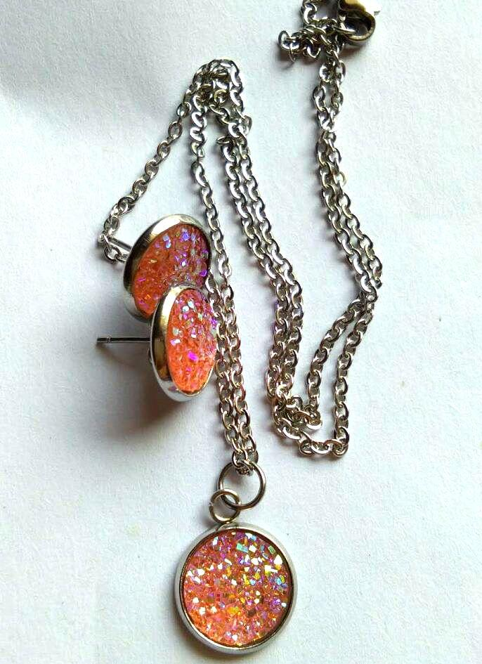 Hot Druzy Drusy Necklace Earrings set Geometry Stone Necklaces Best for Lady New York Brand Jewelry