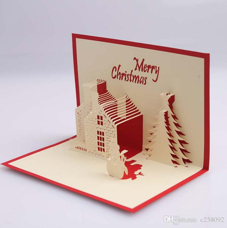 Featured Creative 3D Christmas Cards Christmas Cottage Wish Cards ...