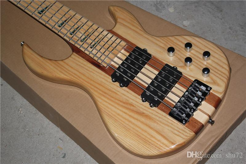 One Piece Neck Through Ash Body 24 frets 6 strings electric bass guitar Maple fingerboard active pickups 1 2