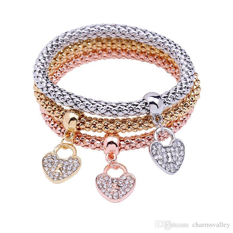 Смешанный цвет 3шт/набор сердце подвески подвеска браслет-цепочка попкорн кукуруза браслеты браслеты браслеты женщины ювелирные изделия подарки