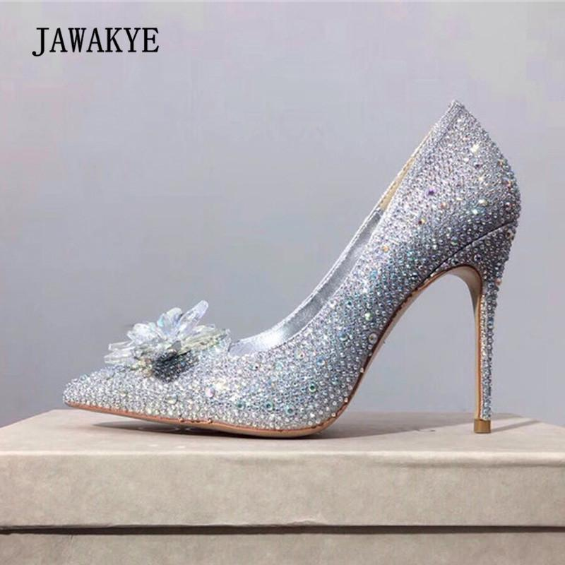 0cc776aef 2018 Chic Rhinestone High Heel Shoes Woman Transparent Crystal Flower Pumps  Woman Black Red Gold Silver Wedding Shoes